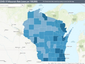 August 24th COVID-19 Wisconsin Cases Per 100,000 Residents Map