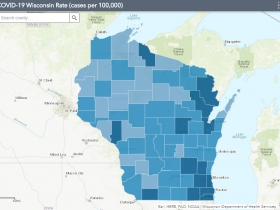 August 25th COVID-19 Wisconsin Cases Per 100,000 Residents Map