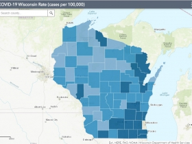 August 29th COVID-19 Wisconsin Cases Per 100,000 Residents Map