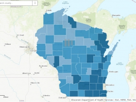 August 30th COVID-19 Wisconsin Cases Per 100,000 Residents Map