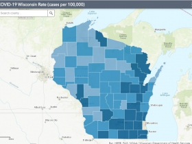 August 31st COVID-19 Wisconsin Cases Per 100,000 Residents Map