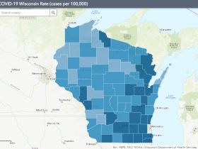 September 1st COVID-19 Wisconsin Cases Per 100,000 Residents Map