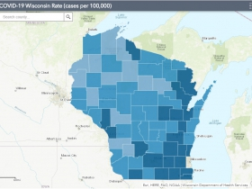 September 3rd COVID-19 Wisconsin Cases Per 100,000 Residents Map