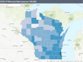 September 4th COVID-19 Wisconsin Cases Per 100,000 Residents Map