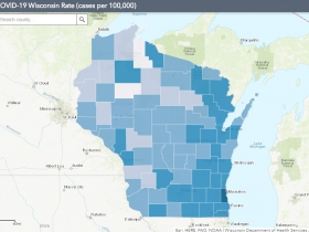 September 5th COVID-19 Wisconsin Cases Per 100,000 Residents Map