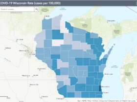 September 11th COVID-19 Wisconsin Cases Per 100,000 Residents Map