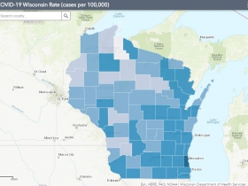 September 12th COVID-19 Wisconsin Cases Per 100,000 Residents Map