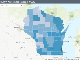 September 13th COVID-19 Wisconsin Cases Per 100,000 Residents Map