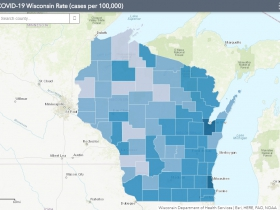 September 16th COVID-19 Wisconsin Cases Per 100,000 Residents Map