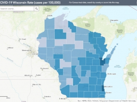 September 17th COVID-19 Wisconsin Cases Per 100,000 Residents Map