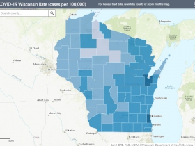 September 20th COVID-19 Wisconsin Cases Per 100,000 Residents Map