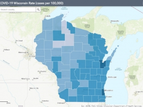September 21st COVID-19 Wisconsin Cases Per 100,000 Residents Map