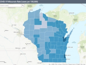 September 22nd COVID-19 Wisconsin Cases Per 100,000 Residents Map
