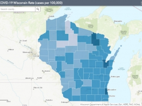 September 23rd COVID-19 Wisconsin Cases Per 100,000 Residents Map
