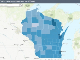 September 24th COVID-19 Wisconsin Cases Per 100,000 Residents Map