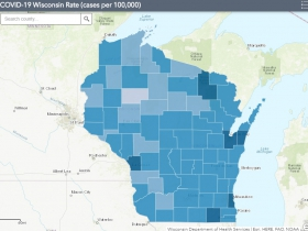 September 27th COVID-19 Wisconsin Cases Per 100,000 Residents Map