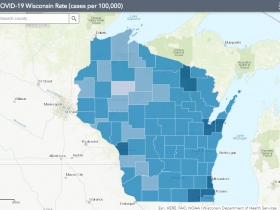 September 28th COVID-19 Wisconsin Cases Per 100,000 Residents Map