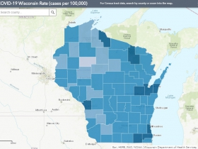 September 29th COVID-19 Wisconsin Cases Per 100,000 Residents Map