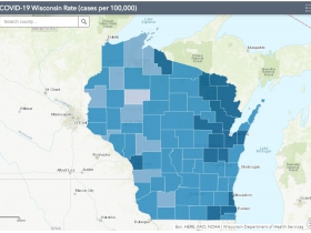 October 3rd COVID-19 Wisconsin Cases Per 100,000 Residents Map