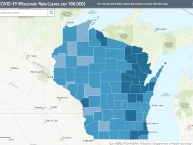 October 5th COVID-19 Wisconsin Cases Per 100,000 Residents Map