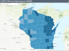 October 6th COVID-19 Wisconsin Cases Per 100,000 Residents Map