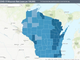 October 7th COVID-19 Wisconsin Cases Per 100,000 Residents Map