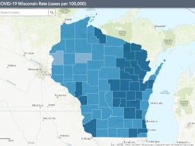 October 13th COVID-19 Wisconsin Cases Per 100,000 Residents Map