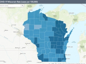October 15th COVID-19 Wisconsin Cases Per 100,000 Residents Map
