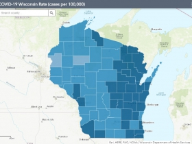 October 16th COVID-19 Wisconsin Cases Per 100,000 Residents Map