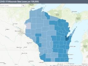 October 19th COVID-19 Wisconsin Cases Per 100,000 Residents Map