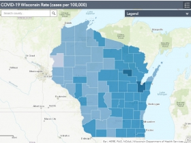 October 20th COVID-19 Wisconsin Cases Per 100,000 Residents Map