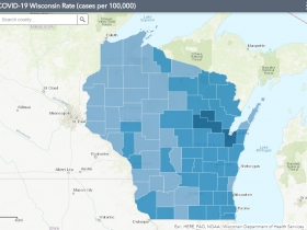 October 21st COVID-19 Wisconsin Cases Per 100,000 Residents Map