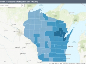October 22nd COVID-19 Wisconsin Cases Per 100,000 Residents Map