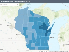 October 25th COVID-19 Wisconsin Cases Per 100,000 Residents Map