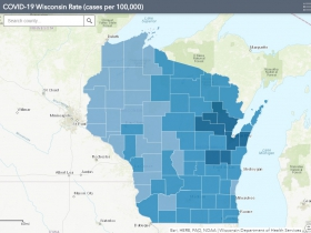 October 26th COVID-19 Wisconsin Cases Per 100,000 Residents Map