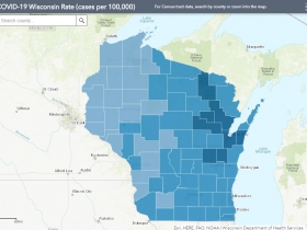 October 27th COVID-19 Wisconsin Cases Per 100,000 Residents Map
