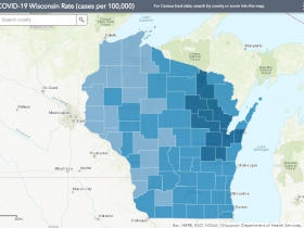 October 28th COVID-19 Wisconsin Cases Per 100,000 Residents Map