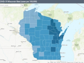 October 30th COVID-19 Wisconsin Cases Per 100,000 Residents Map