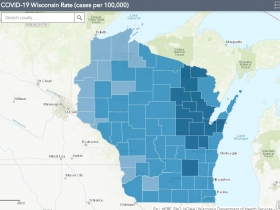 November 1st COVID-19 Wisconsin Cases Per 100,000 Residents Map