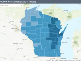 November 4th COVID-19 Wisconsin Cases Per 100,000 Residents Map