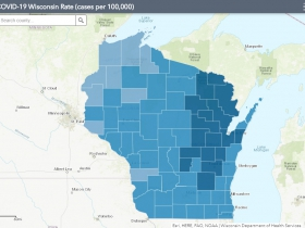 November 5th COVID-19 Wisconsin Cases Per 100,000 Residents Map
