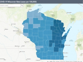 November 6th COVID-19 Wisconsin Cases Per 100,000 Residents Map