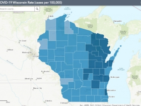 November 7th COVID-19 Wisconsin Cases Per 100,000 Residents Map