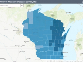 November 8th COVID-19 Wisconsin Cases Per 100,000 Residents Map