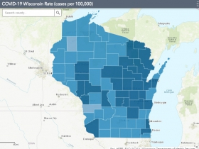 November 12th COVID-19 Wisconsin Cases Per 100,000 Residents Map