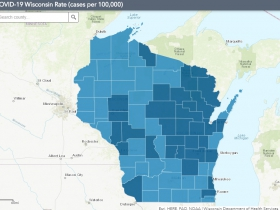 November 13th COVID-19 Wisconsin Cases Per 100,000 Residents Map