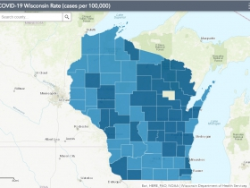 November 14th COVID-19 Wisconsin Cases Per 100,000 Residents Map