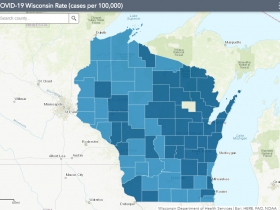 November 16th COVID-19 Wisconsin Cases Per 100,000 Residents Map