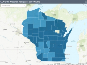 November 20th COVID-19 Wisconsin Cases Per 100,000 Residents Map