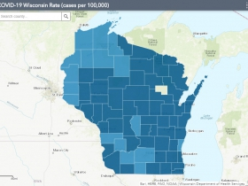 November 22nd COVID-19 Wisconsin Cases Per 100,000 Residents Map